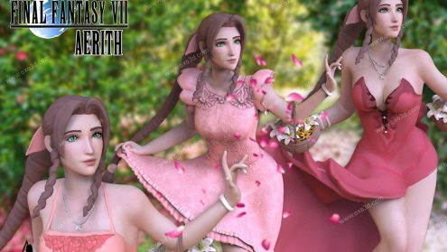 Aerith Remake 3D Model 3 outfits